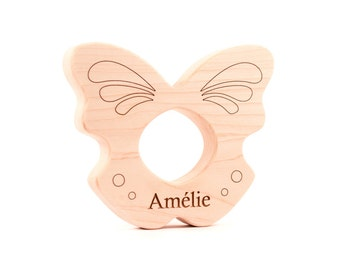 personalized all natural butterfly TEETHER TOY - an organic teething gift for infant baby, eco-friendly baby shower gift