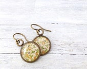 Bronze Pretty Everyday Jewelry - floral spring earrings - vintage inspired earrings - Spring jewelry - everyday earrings - yellow and green