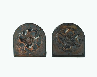 Antique Roycroft Hammered Copper Poppy Bookends - Arts and Crafts Movement