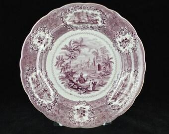 Antique Ridgways Oriental Purple Transferware Plate - 1830's
