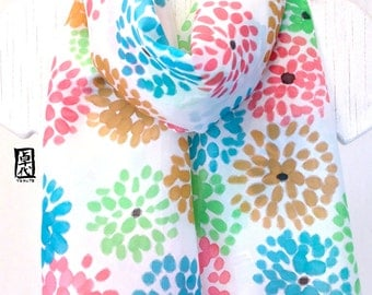 Hand Painted Silk Scarf, Gift under 50, ETSY, White Scarf, Turquoise Blue and Green Chrysanthemum Scarf, Silk Scarves Takuyo, 12x59 inches.