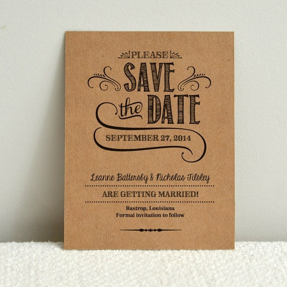 Diy kraft paper wedding save the date handlettered rustic for Diy save the date magnets template