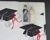 Vintage Graduation Decorations - Paper Tablecloth - Boy Girl Graduates Cake Toppers - High School College - Party Table Display