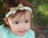 30% off entire order,Baby girl Headbands, toddler headband, baby headband, newborn headband...Gold Glitter Bow