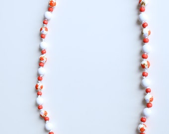 SALE Gorgeous coral red necklace hand painted wood beads and ceramic beads red necklace red artisan necklace Xmas gift teen necklace