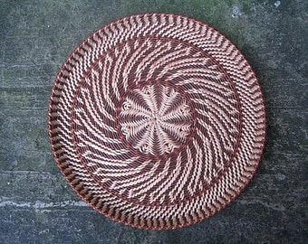 Woven wicker plate Rustic interior home decor Eco friendly gift Ethnic wall decor Fir tree and wheat wheel Harvest table decor