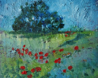 "Mini Art. Red Poppies, Blue Sky. Impressionist Art. Textured Small Oil Painting. 6"" x 6"". Affordable Study."