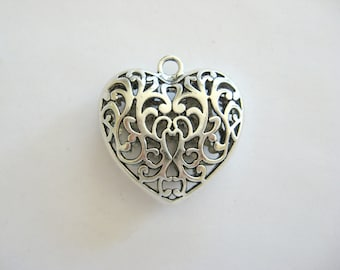 Large Heart Pendant-Pewter Heart-Large Heart Charm~Pewter Hearts~Heart Pendant~Heart Charms