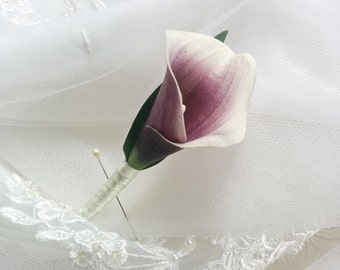 Wedding Natural Touch Purple Heart Picasso Calla Lily Silk Boutonniere