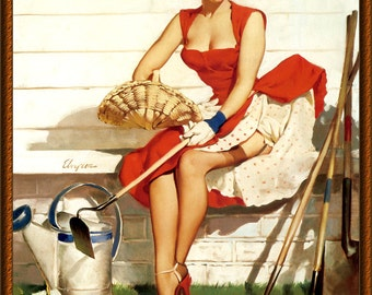 Vintage Pin-Up Girl by Gil Elvgren ~ Gardening ~ NEW 8x10 Art Print Reproduction