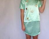 Aqua Skirt with Curved Hem