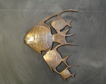 Vintage Brass Angel Fish Wall Mount Hanging-School of Fish-Beach House-Coastal-Nursery Decor