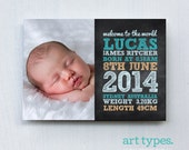 Baby Boy Birth Announcement Printable 5x7 postcard - Chalkboard Typography style - DIY