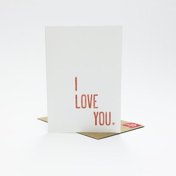 I love you card - letterpress card - anniversary card