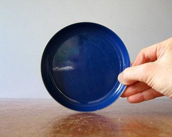 Mid Century Cathrineholm Stainless / Blue Enamel Dish