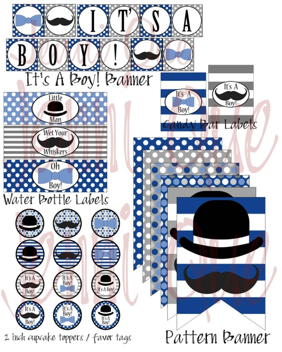mustache and bow ties baby shower bowler hat baby shower decoration