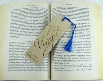 Zodiac Virgo Wood Bookmark - Horoscope Bookmark - Pyrography - BKInspired