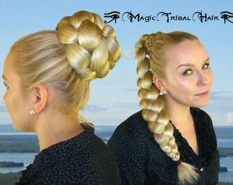 BRAID braided hair bun 20''/50 cm long HAIR PIECE Synthetic Hair extension Pinup chignon Belly Dance braid hair fall Cosplay Larp hair braid