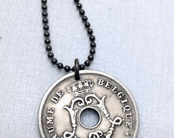 Belgium COIN NECKLACE - antique 1904 1905 Art Nouveau coin -  Belgian - Flemish - 10 centimes - L monogram - over 100 years old coin jewelry