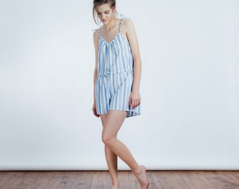 ON SALE >> Sleepwear Mini Jumpsuit in Blue Striped