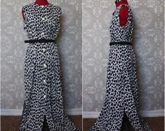Vintage 1960's Leopard Print Peignoir Lounging Robe L/XL