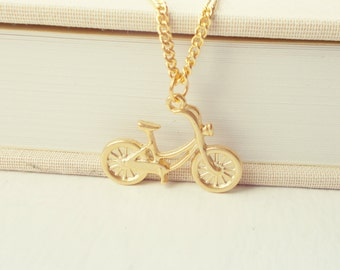 Rose Gold Bicycle Necklace. Vintage Charm Pendant. Simple Minimal Jewelry