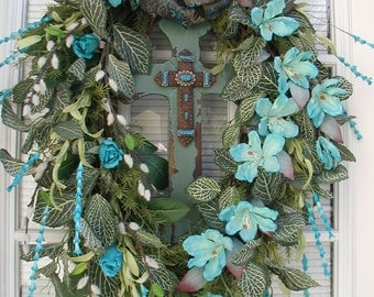 Front Door Wreath Fall Decoration Wood Cross Teal Blue Turquoise Easter Oval Grapevine Wreath Pussy Willows Latex Magnolias Spring Summer