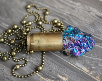 Peacock Ore Crystal Bullet Necklace - Gifted at GBK's MTV Movie Award Lounge