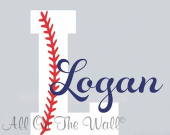 Baseball Wall Decal Boy Name Initial Monogram Sports Wall Decal Vinyl Lettering Monogram Baby Boy Nursery Kids Children Decor