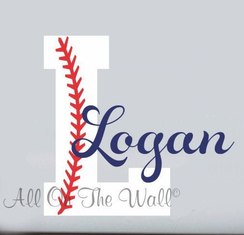 Baseball Wall Decal Boy Name Initial Monogram Sports Wall