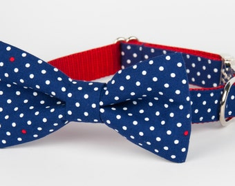Occasional Red Dot Bow Tie Dog Collar