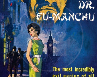 The Return of Fu-Manchu - 10x17 Giclée Canvas Print of a Vintage Pulp Paperback Cover