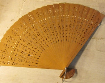 Bamboo Sticks , Decorative Hand Fan, Woven Ribbon, Ornate Accessories, Vintage Collectible, Bamboo Cutouts