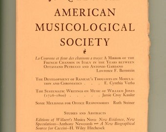 Journal of the American Musicological Society Spring 1973 French Chanson, Rameau on Modulation, Writings of WIlliam Jones Vintage Periodical