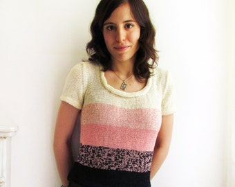 Handknit blouse with blue, pink and off white stripes and rolled collar - Size S