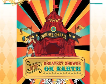 Cirque du Bebe Shower Poster - Vintage Circus Shower Backdrop Poster Art - Made to Order - Art Print in Original Colors