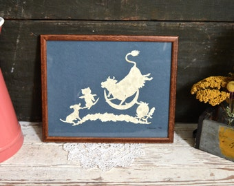 Vintage Nursery Rhyme Art Wall Hangings Neutral Decor Baby Room Cow Moon Wood Frame with Glass