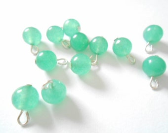 Natural Green Aventurine Round Jade Gemstone Dangle Beads