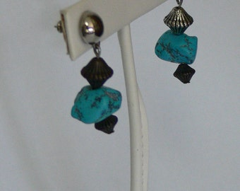 turquoise dangle post earrings