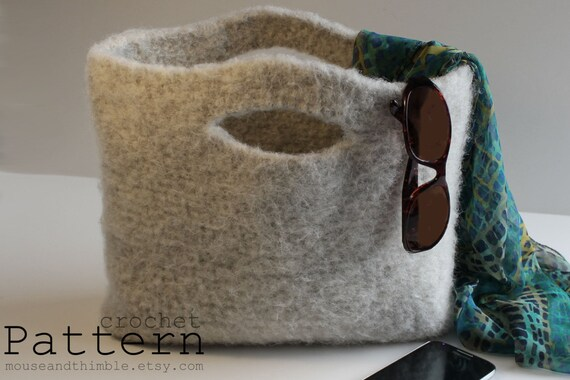Easy Felted Crochet Bag Pattern : Easy Crochet PATTERN Felted Wool Handbag Tote 14 x