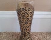 Leopard print hand painted pilsner glass