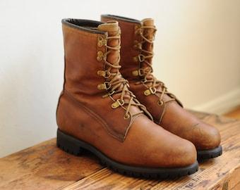 Vintage Eddie Bauer USA Union Made Brown Leather Work Boots mens 9 1/2