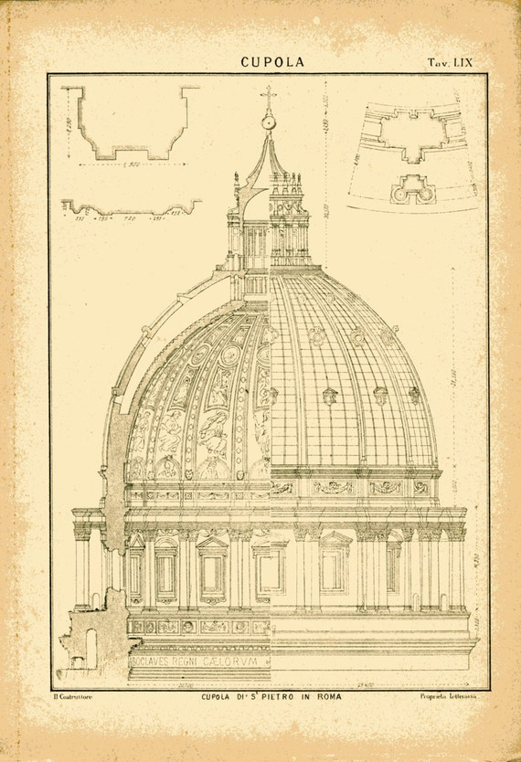 Dome of saint peter 39 s in rome 1800s vintage architectural for Printing architectural drawings