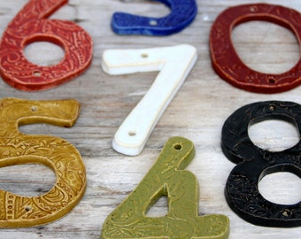 Modern House Numbers - Set of 4 - Choose Your Color - Nautical Royal Blue Rustic Red Olive Green Moss Mustard - Curb Appeal - Made to Order