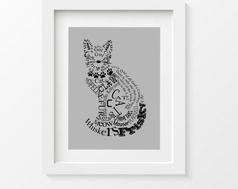 Cat Print, Cat Typography, Nursery Room Wall Decor, Gray, Kids Room Art