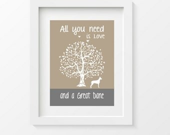 Great Dane Art Print, All You Need Is Love And A Great Dane, Tree, Modern Wall Decor, gift