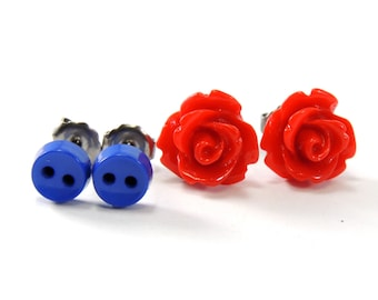 Red & Blue Earring Set  Glossy Fire Engine Flowers and Cobalt Button Earrings  Titanium and Stainless Steel Gift Set