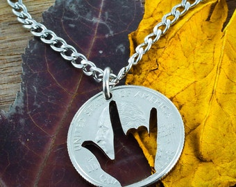ASL I love you necklace, Deaf jewelry in Quarter or Dime, hand cut coin