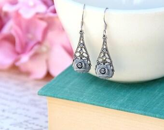Garden Party Jewelry, Rose Earrings, Grey Rose Earrings, Filigree Jewelry, Vintage Style, Silver Jewelry, Beautiful Jewelry, Gifts Under 30