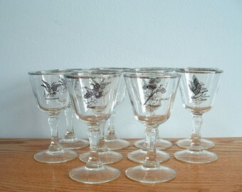 Vintage Silver Rim Game Bird Glasses Set of 10  Cordial Aperitif Liqueur Sherry Mid Century Barware Ducks, Pheasant, Geese, Grouse